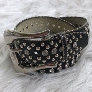Vintage 80s GUESS Leather Belt rhinestones studs
